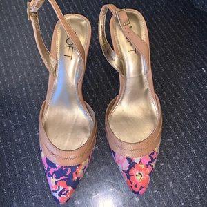 Ann Taylor Loft Floral Pointy Toe Slingback Heels